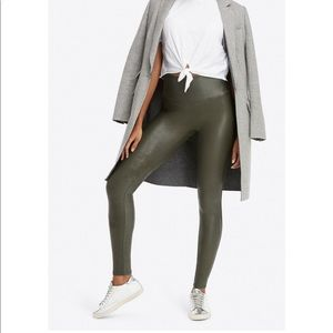 • Spanx • Faux Leather Olive Green Legging Medium